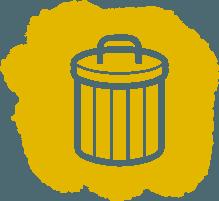 symbol of trashcan representing hoarding