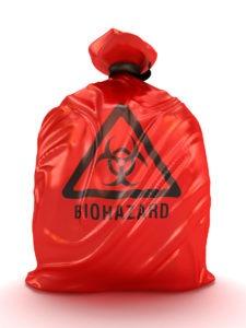 red biohazard bag